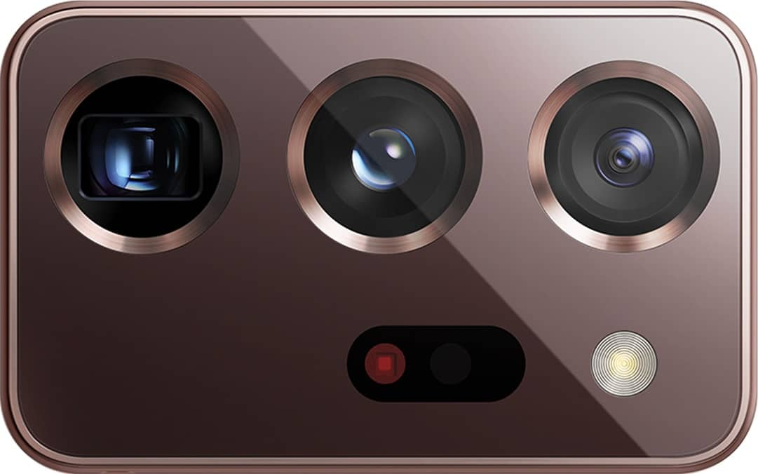 Extreme closeup of the triple rear camera from Galaxy Note20 Ultra, shown without the phone.